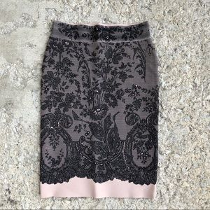 BCBGmaxazria Scarlett lace print nude pencil skirt